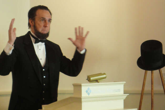 Lewis Dube portrayed President Abraham Lincoln in a President's Day program Monday at the Fairfield Museum and History Center.  FAIRFIELD CITIZEN, CT 2/18/13 Photo: Meg Barone / Fairfield Citizen freelance