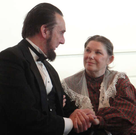 Lewis Dube and Carol Deleppo as President Abraham Lincoln and Mary Todd Lincoln at a President's Day program Monday at the Fairfield Museum and History Center.  FAIRFIELD CITIZEN, CT 2/18/13 Photo: Meg Barone / Fairfield Citizen freelance