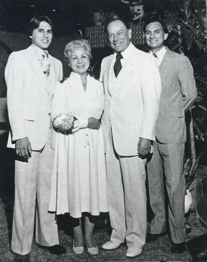 Three generations of the Molina family have operated area restaurants for more than 70 years. Founder Raul Molina, second from right, is shown with his wife Mary and  Raul Molina III, left, and Raul Molina Jr. Photo: Molina Family