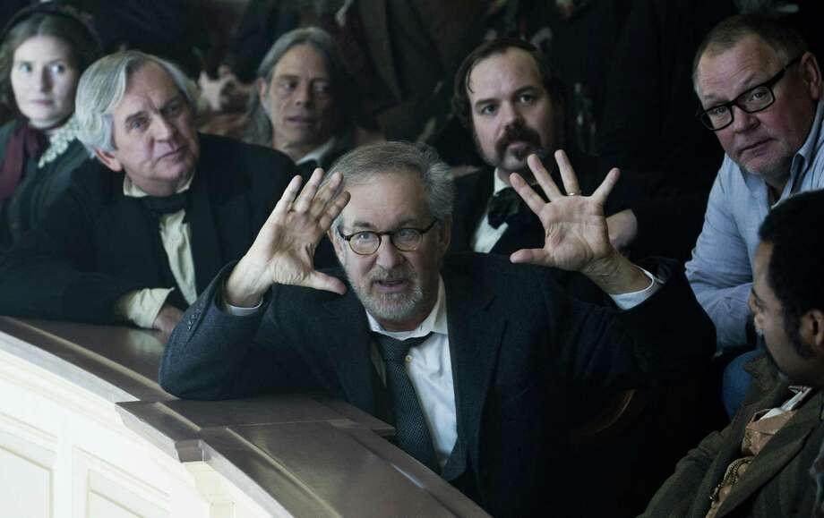 "This is Hollywood, so listen up, period characters: Director Steven Spielberg sets up a shot  during the production of ""Lincoln."" The film largely depends on historical record, but more than a little drama was written in. Photo: DreamWorks"