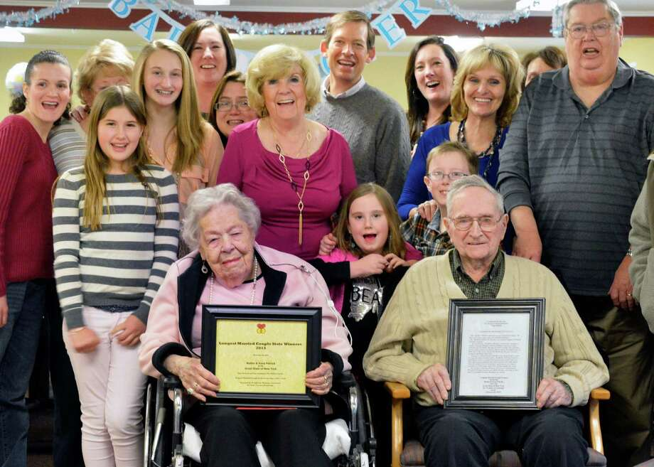 AnnaMay and husband Walter T. Patrick, both 96-years-old, are joined by five generations of their family as they receive certificates for longest married couple in New York State from the World Wide Marriage Encounter in Troy Saturday Feb. 16, 2013.  (John Carl D'Annibale / Times Union) Photo: John Carl D'Annibale / 00021188A