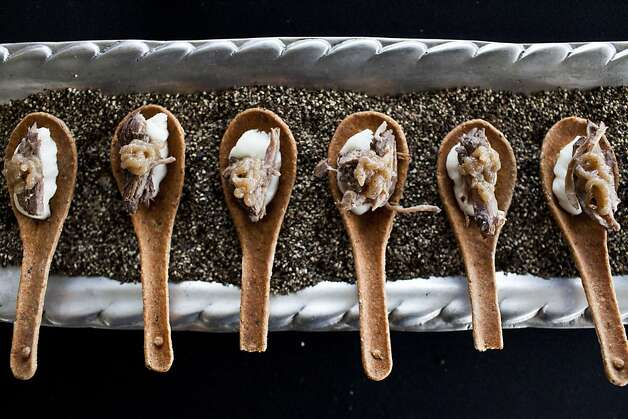 Foord Catering provided edible spoons filled with sweet and savory offerings such as this short rib and black pepper spoon at the San Francisco Chronicle Wine Competition at Fort Mason in San Francisco, Calif., Saturday, February 16, 2013. Photo: Jason Henry, Special To The Chronicle