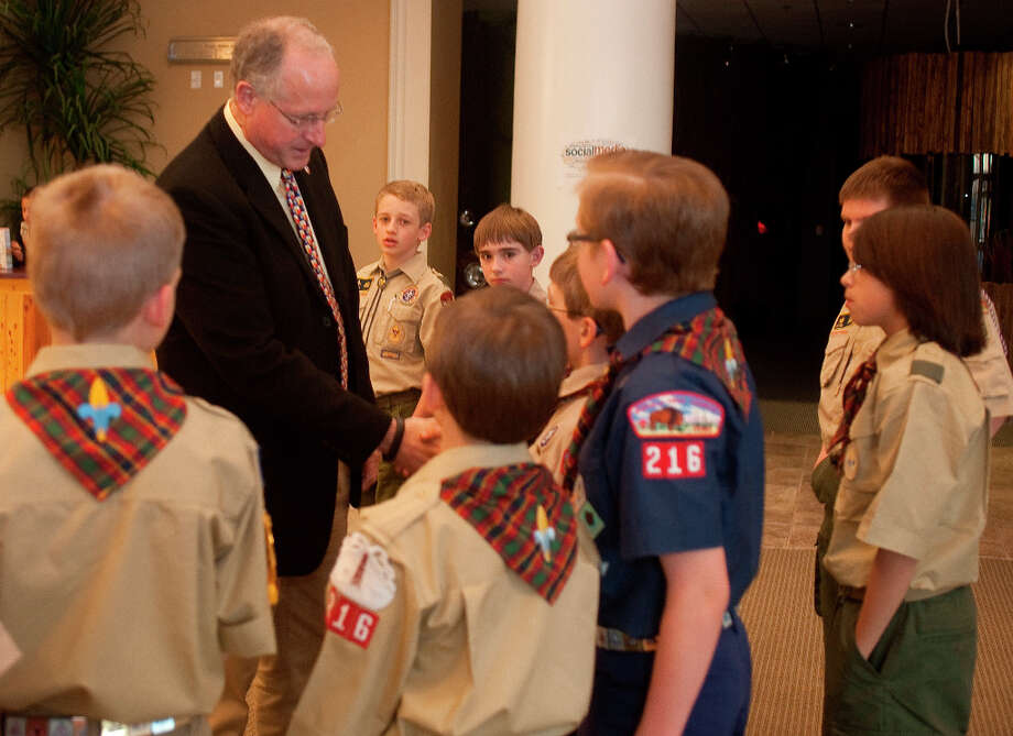 Rep. Mike Conaway meets and speaks to members of Troop 216 Friday evening before the Cub Scout promotion ceremony to Boy Scouts at Golf Course Road Church of Christ. Conaway was on hand to speak during the ceremony, promoting 10 members of Troop 216, during the Blue and Gold Banquet.Tim FischerReporter-Telegram Photo: Tim Fischer, Midland Reporter-Telegram