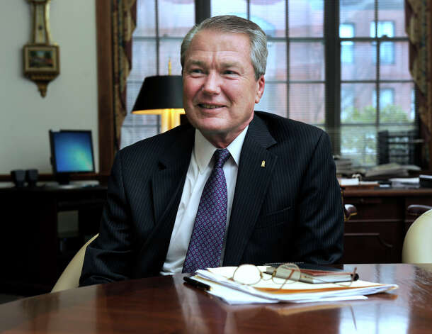 Hal Wibling, who is retiring as president and CEO of the Savings Bank of Danbury, is photographed in his office Tuesday, Feb. 19, 2013. Photo: Carol Kaliff / The News-Times