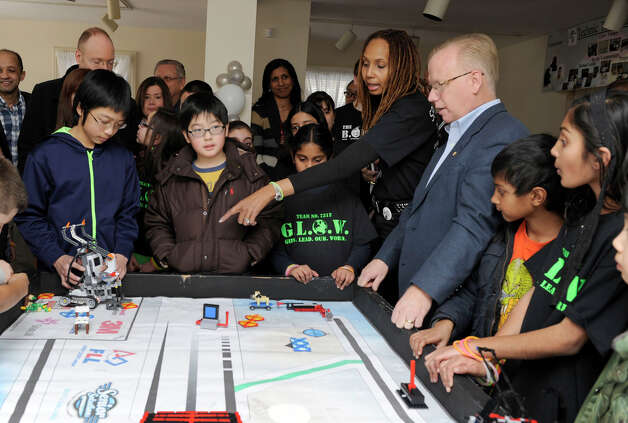 Members of a Lego group led by Danbury parent Ellen Bell celebrated a successful year with a party, Monday, Feb. 18, 2013. Danbury Mayor mark Boughton was in attendance. Photo: Carol Kaliff / The News-Times