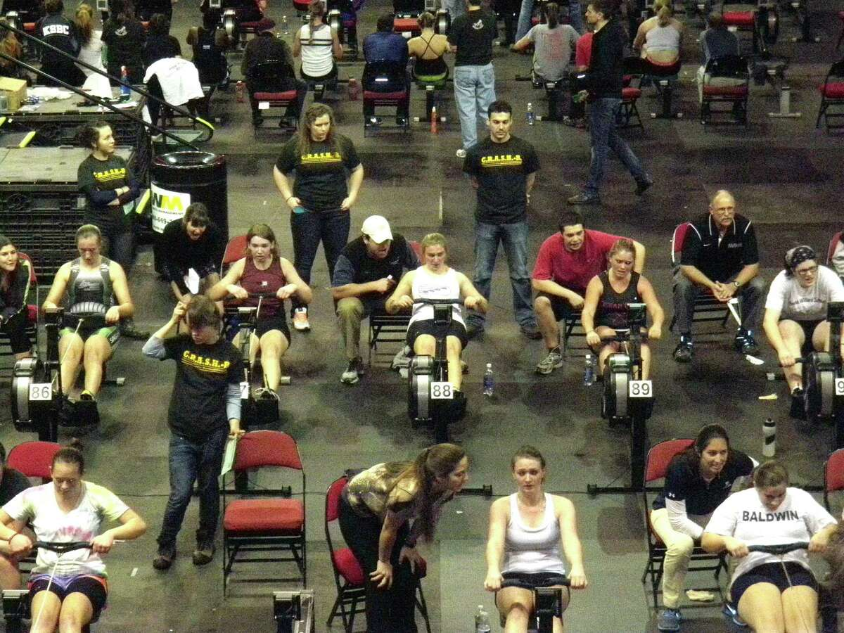 Antonia Lycouris, No. 88, races in the Junior Women's Openweight event at the 32nd annual World Indoor Rowing Championships, which took place recently in Boston. Greenwich Crew Director Mike Wieneke acts as her coxswain