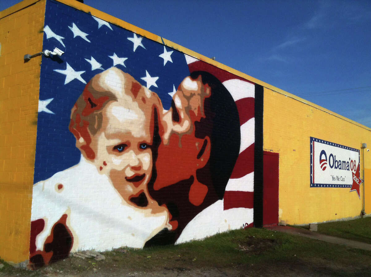 The newest Obama mural is seen on Tuesday, Feb. 19, 2013.
