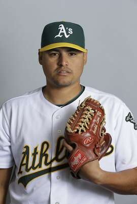 This is a 2013 photo of Arnold Leon of the Oakland Athletics baseball team. This image reflects the Athletics active roster as of Monday, Feb. 18, 2013.(AP Photo/Darron Cummings)