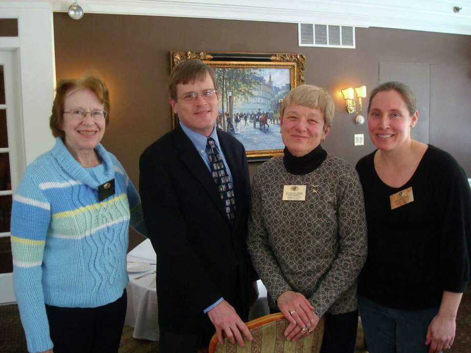 The New Canaan Kiwanis Club welcomed speaker Bernie Carr. From left, Barbara Wagner, Carr, Eloise Killeffer and Ann Wronski. Photo: Contributed Photo