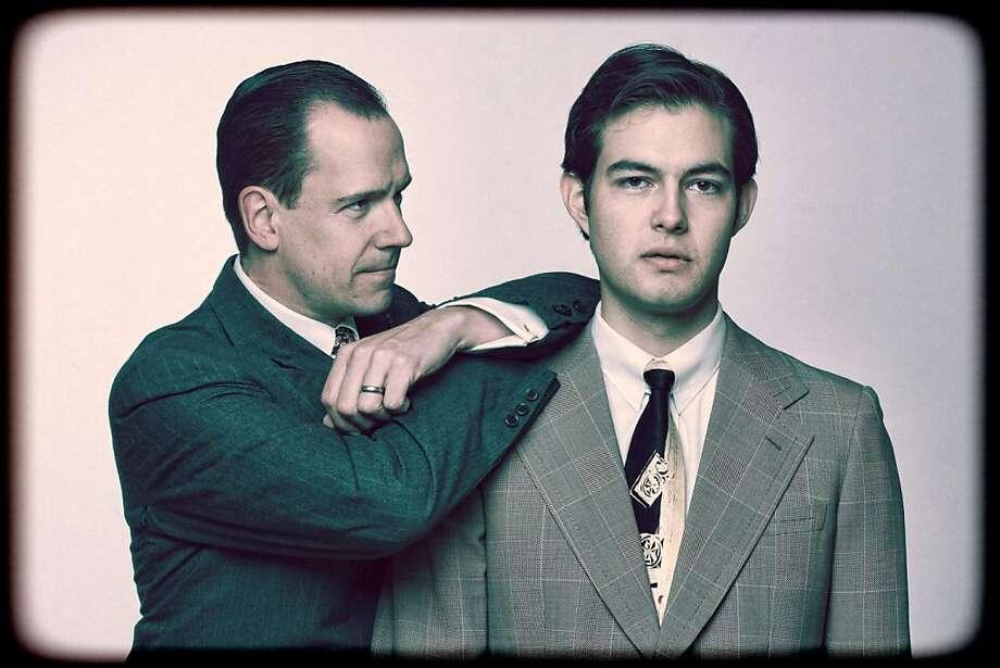 "Jeff Draper (left) portrays David Sarnoff and Michael Doppe is Philo Farnsworth in Aaron Sorkin's ""The Farnsworth Invention"" at Town Hall Theatre in Lafayette. Photo: Stu Selland"