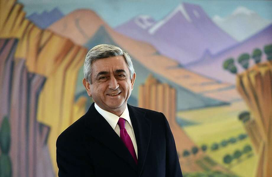 President Serge Sarkisian received nearly 59 percent of the vote, enough to avoid a runoff. Photo: Tigran Mehrabyan, Associated Press