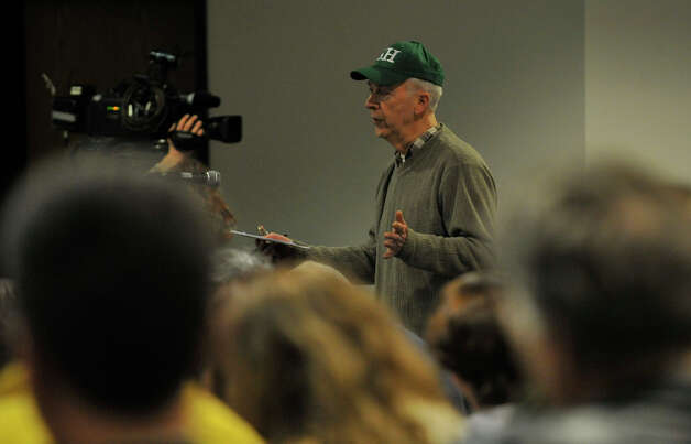 Sandy Hook resident Lawrence Thompson speaks to state legislators during the Newtown Action Alliance-organized hearing on gun violence at Newtown High School on Tuesday, Feb. 19, 2013. Photo: Jason Rearick / The Advocate