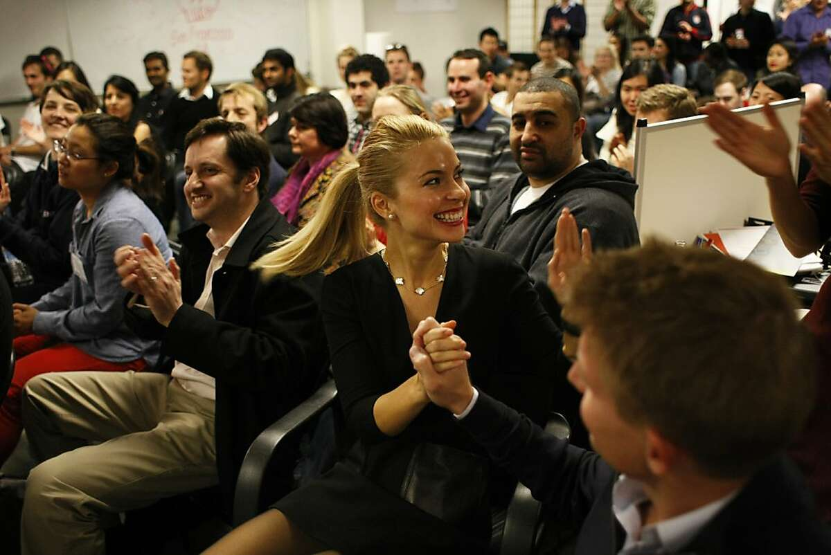 Lona Alia Duncan of Stylend reacts as her team is chosen as one of the winners of the competition during the Startup Weekend on Sunday, Feb.17. The Startup Weekend featured companies focused on the intersection of fashion and technology whose apps were looked at by judges.