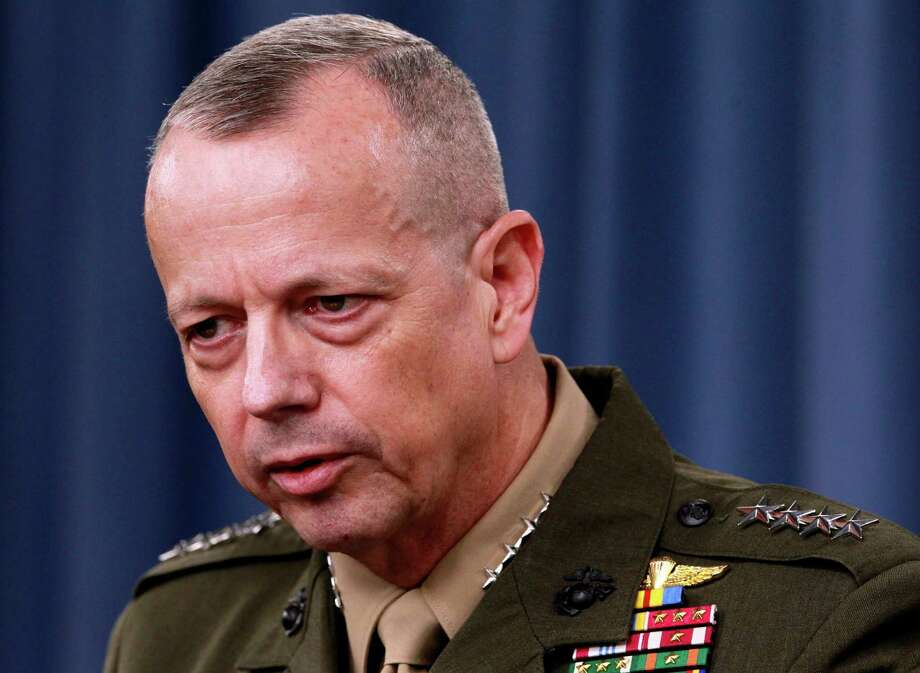 FILE - In this March 26, 2012 file photo, Marine Gen. John Allen speaks during a news conference at the Pentagon. President Barack Obama says he has accepted Allen's request to retire from military. (AP Photo/Haraz N. Ghanbari, File) Photo: Haraz N. Ghanbari, STF / AP