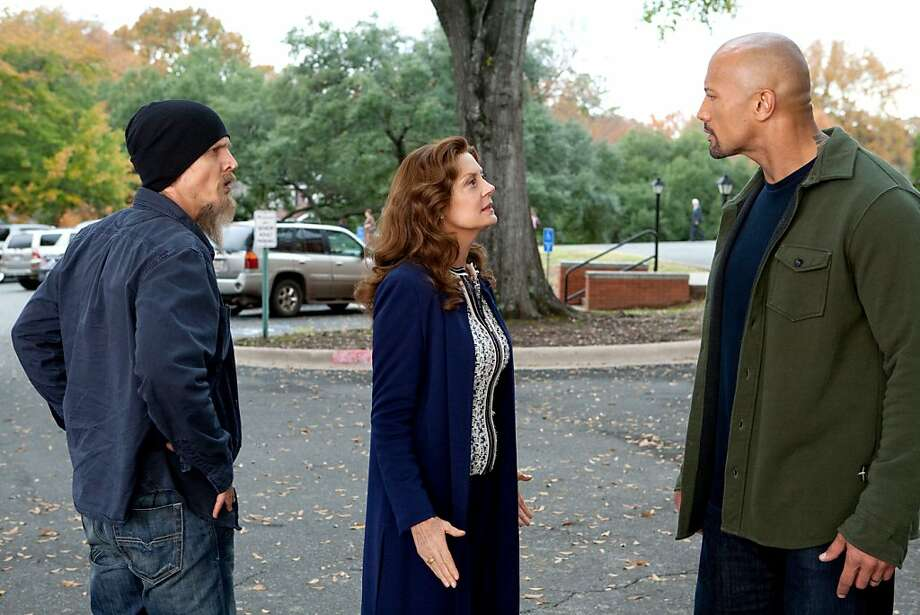(L-R) BARRY PEPPER, SUSAN SARANDON and DWAYNE JOHNSON star in SNITCH Photo: Steve Dietl, Summit Entertainment