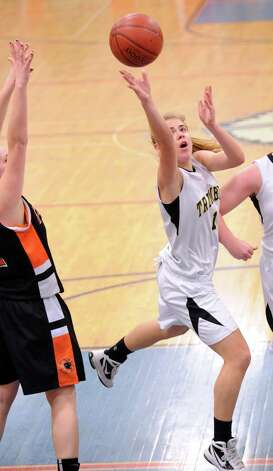 Alexa Pfohl # 1 of Trumbull scores on a layup during 4th quarter action of the girls high school basketball FCIAC semifinal game between Stamford High School and Trumbull High School at Fairfield-Ludlowe High School, Tuesday, Feb. 19, 2013. Photo: Bob Luckey / Greenwich Time