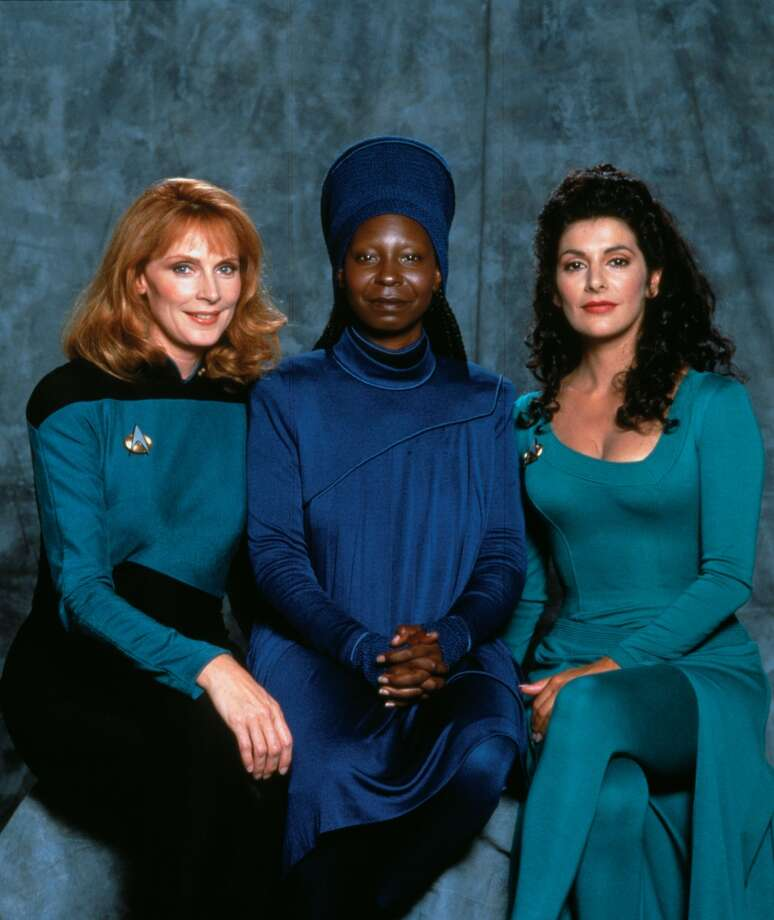 The women of ''Next Generation'' were pretty tough. They were (from left) Gates McFadden as Dr. Beverly Crusher, Whoopi Goldeberg as Guinan and Marina Sirtis as counselor Deanna Troi.