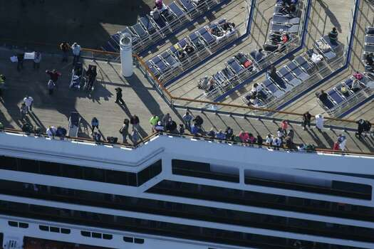 The disabled Carnival ship Triumph slowly concludes its infamous voyage last week. Photo: Gerald Herbert, STF / AP