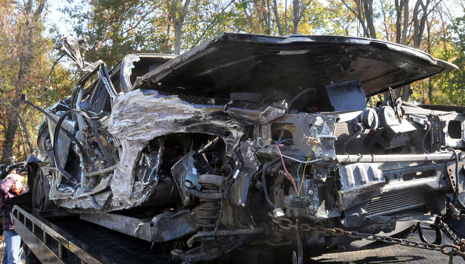 This Nov. 2, 2011, file photo shows the state-owned Ford driven by Lt. Gov. Timothy P. Murray sitting in Holden, Mass. Murray initially said he wasn't speeding and that he was wearing his seatbelt when he crashed a government-owned car. But the Ford Crown Victoria's data recorder told a different story: It showed the car was traveling over 100 mph and Murray wasn't belted in. Photo: Tom Rettig, Associated Press / The Telegram & Gazette