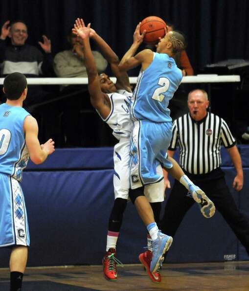 LaSalle's Gabriel Smith , left, and Columbia's Jahlil Nails collide during their Class AA boy's bask