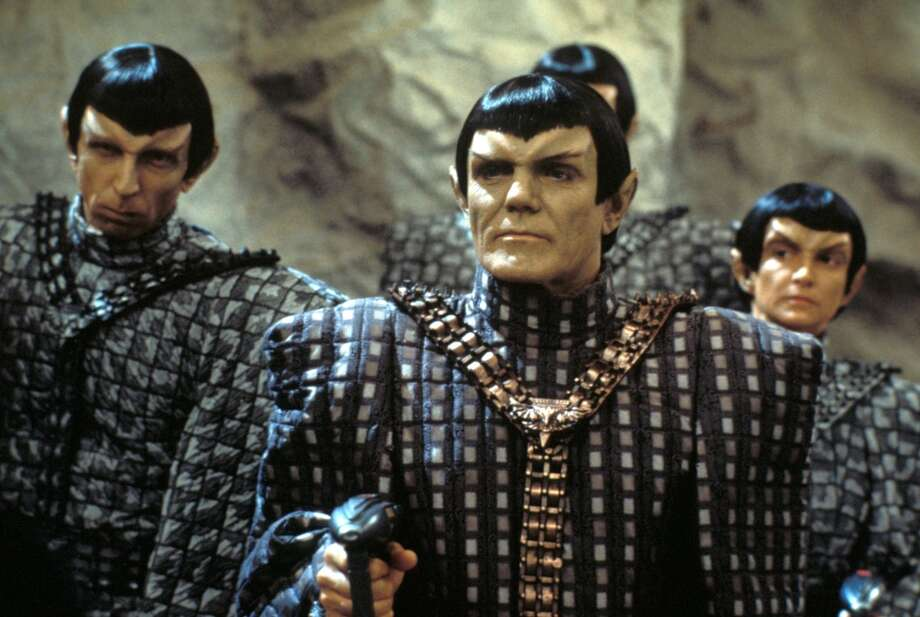 Now for some excellent TNG costumes, starting with the Romulans. (Actor Maurice Roeves, center, plays their captain).