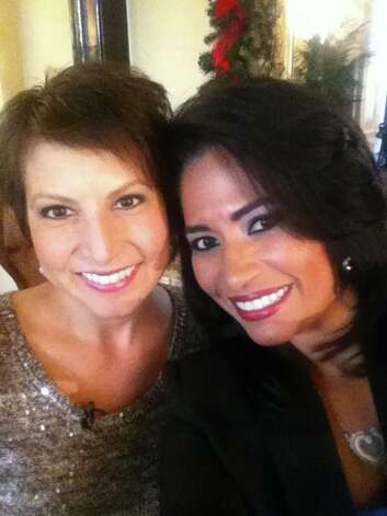 Karen Martinez with KABB reporter Yami Virgin. Photo: Courtesy