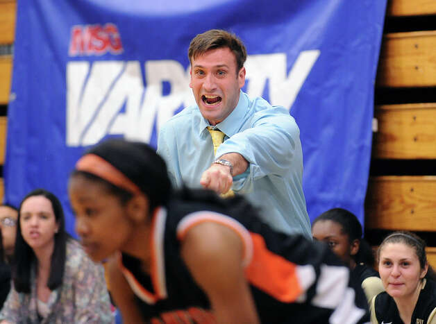 Trumbull coach Stephen Tobitsch during the girls high school basketball FCIAC semifinal game between Stamford High School and Trumbull High School at Fairfield-Ludlowe High School, Tuesday, Feb. 19, 2013. Photo: Bob Luckey / Greenwich Time
