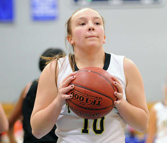 Katherine O'Leary # 10 of Trumbull during the girls high school basketball FCIAC semifinal game between Stamford High School and Trumbull High School at Fairfield-Ludlowe High School, Tuesday, Feb. 19, 2013. Photo: Bob Luckey / Greenwich Time