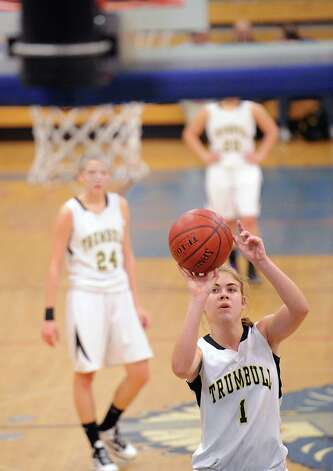 Alexa Pfhol # 1 of Trumbull shoots a foul shot during the girls high school basketball FCIAC semifinal game between Stamford High School and Trumbull High School at Fairfield-Ludlowe High School, Tuesday, Feb. 19, 2013. Photo: Bob Luckey / Greenwich Time