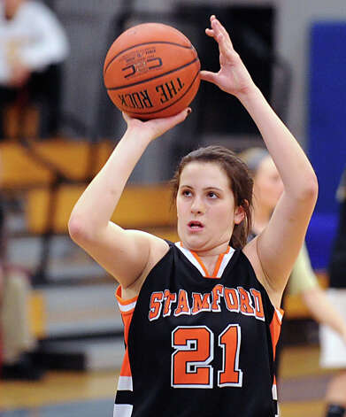 Kelsey Santagata # 21 of Stamford during the girls high school basketball FCIAC semifinal game between Stamford High School and Trumbull High School at Fairfield-Ludlowe High School, Tuesday, Feb. 19, 2013. Photo: Bob Luckey / Greenwich Time