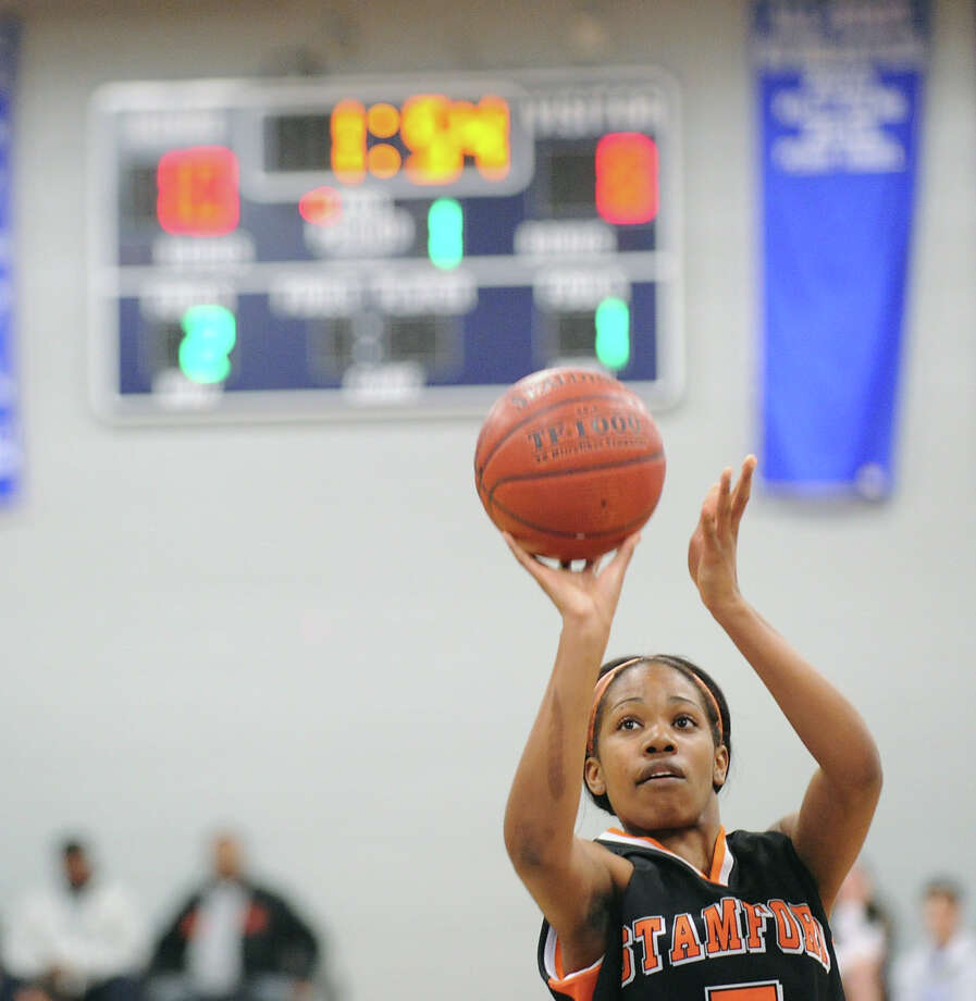 Ashyla Cody # 5 of Stamford during the girls high school basketball FCIAC semifinal game between Stamford High School and Trumbull High School at Fairfield-Ludlowe High School, Tuesday, Feb. 19, 2013. Photo: Bob Luckey / Greenwich Time
