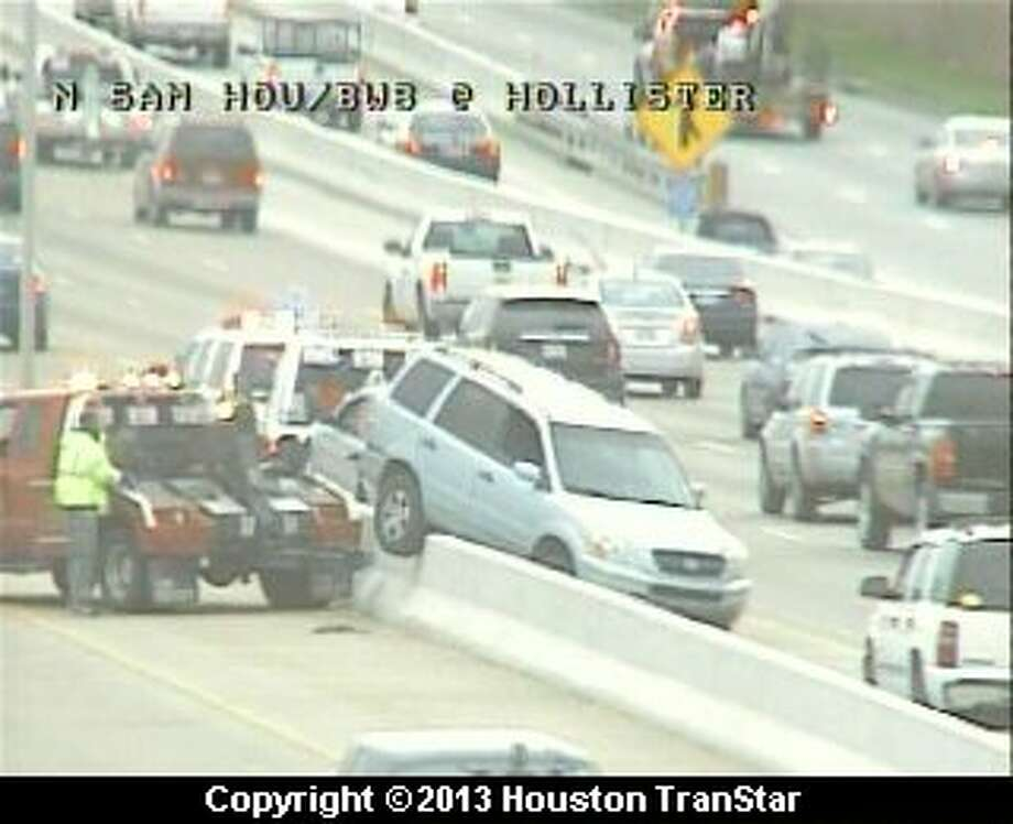 Traffic was slowed on the North Sam Houston Parkway near Hollister after a crash about 7:15 a.m. Wednesday. Photo: Houston Transtar