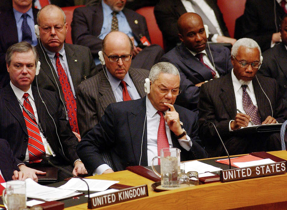 United States Secretary of State Colin Powell attends a Security Council meeting to vote on a anti-terrorism declaration at U.N. headquarters January 20, 2003 in New York City. Powell beseeched other nations to face up to Saddam Hussein. Photo: Spencer Platt, Getty Images / 2003 Getty Images