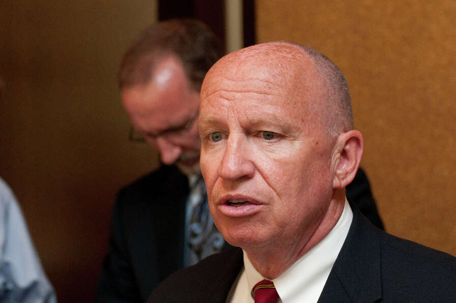 Congressman Kevin Brady holds a press conference Tuesday afternoon after leading a meeting held by l