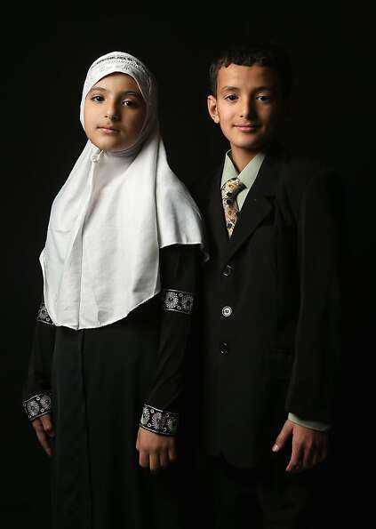Layla Nasher, 11 and her brother Issa Nasher, 12, who's family immigrated from Yemen to Newburgh, NY