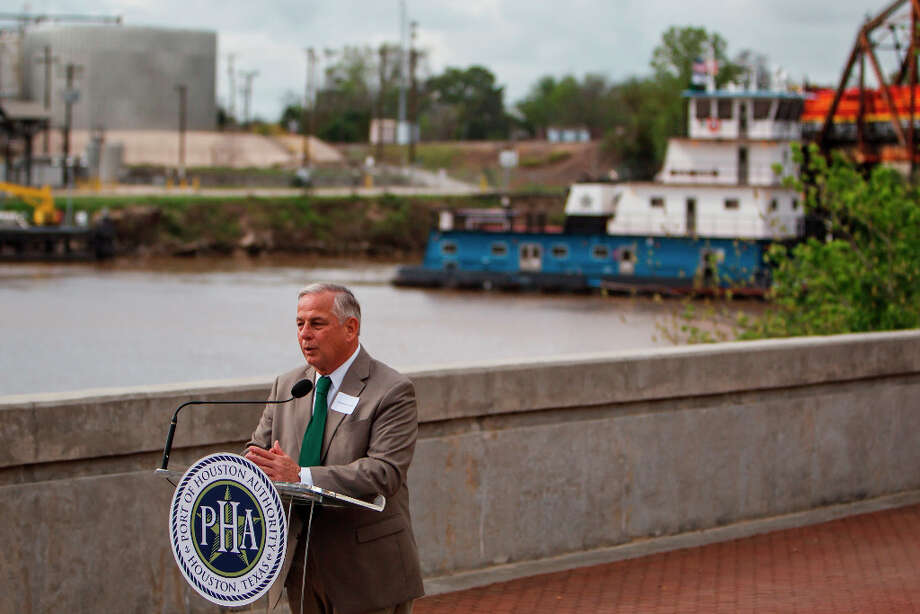 U.S. Congressman Gene Greene speaks during a press conference at the Sam Houston Pavilion as the Houston Ship Channel lies in the background, Friday, March 16, 2012, in Houston.The Port of Houston Authority invited Rep. Ron Kirk to the Houston Ship Channel to see the vast economic opportunities available to Texas through international trade and commerce and to reinforce the significance of the Port of Houston and the Houston Ship Channel to the local, state and national economies. These opportunities include the U.S.-Korea trade agreement which takes effect on March 15 and which will help support additional American jobs through increased U.S. exports to Korea Photo: Michael Paulsen, Houston Chronicle / © 2012 Houston Chronicle