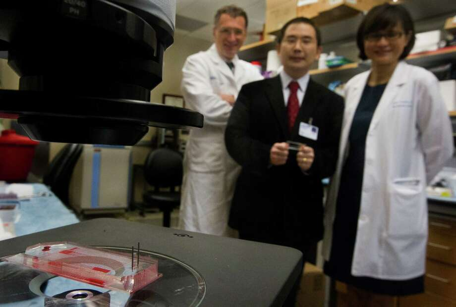 Dr.'s Mauro Ferrari, Lidong Qinon, and Jenny Chang of Methodist's Research Institute are all a part of a research group on MS-Chips that helps diagnose whether certain kinds of cancer cells exist in a cancer patient. Photo: J. Patric Schneider, Freelance / © 2013 Houston Chronicle
