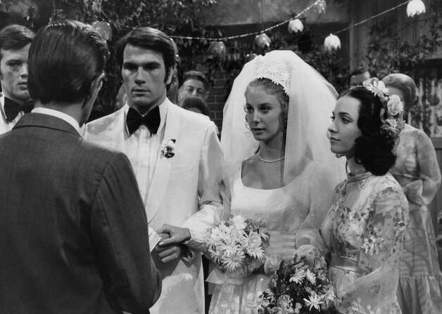 "Tommy Lee Jones shares a wedding scene with actresses Lee Warrick (center) and Claire Malis on ""One Life to Live"" in 1972. Photo: ABC Photo Archives / 2009 American Broadcasting Companies, Inc."