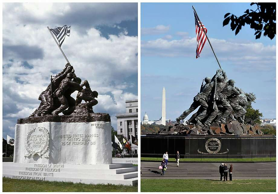 This photo combination shows, at left, a 1945 photo of the original 12 1/2-foot (4 meter) cast stone version of Felix de Weldon's iconic statue depicting soldiers raising the U.S. flag at Iwo Jima, placed in front of the old Navy Department Building, now the Federal Reserve Building, in Washington, D.C.; and, at right, de Weldon's 32-foot (10-meter)-tall bronze Marine Corps War Memorial in Arlington, Va., on Oct. 21, 2012. The smaller original statue, which was removed in 1947 and hidden under a tarp at the artist's studio for four decades, is expected to fetch up to $1.8 million when it goes on sale at Bonham's auction house in New York on Feb. 22, 2013. Photo: Associated Press