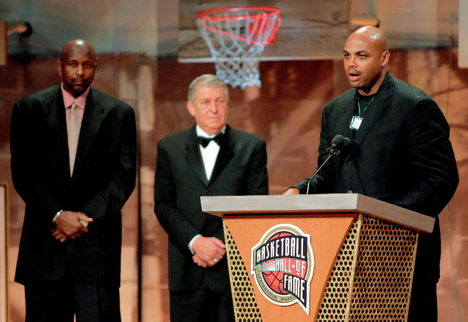 Barkley makes his remarks at a ceremony marking his enshrinement into the Naismith Memorial Basketball Hall of Fame as part of the class of 2006 in Springfield, Mass. on Sept. 8, 2006. Photo: STEPHAN SAVOIA, AP / AP
