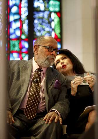 The Rev. Williams and his wife Janice Mirikitani talked during the service. The iconic Rev. Cecil Williams delivered the sermon to the nine o'clock service at Glide Memorial Church in San Francisco in November 2009. Photo: Brant Ward, The Chronicle