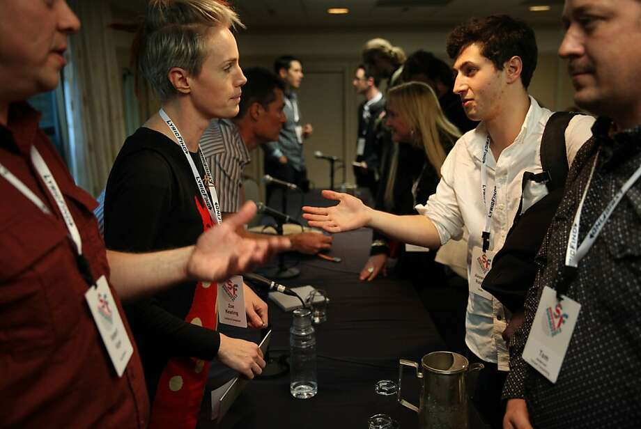 Cellist and composer Zoe Keating (left) talks to Tamber founder Alexi Robbins at Tuesday's SF MusicTech Summit. Photo: Lea Suzuki, The Chronicle