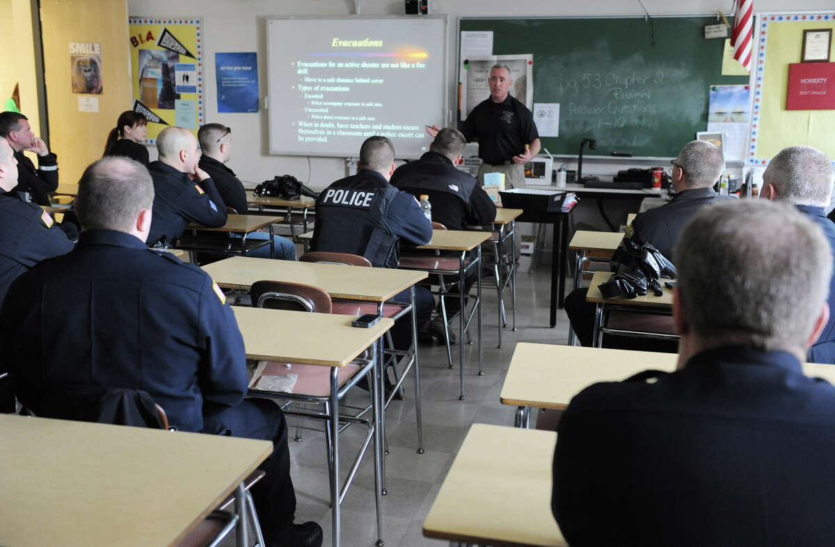 Sgt. Mike Smith of the East Greenbush Police Department talks Wednesday during an ?active shooter? training class at Columbia High School in East Greenbush. (Lori Van Buren / Times Union)