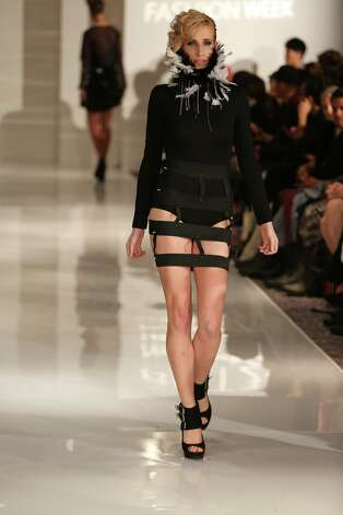 A model wears a Goth-inspired look from San Antonio designer Samantha Plasencia, 26, an award-winning fashion grad of the University of the Incarnate Word. Plasencia was invited to participate in the Plitzs New York City Fashion Week even, an off shoot of Mercedes-Benz Fashion Week. Photo: Courtesy Photy By Brian Cunningh