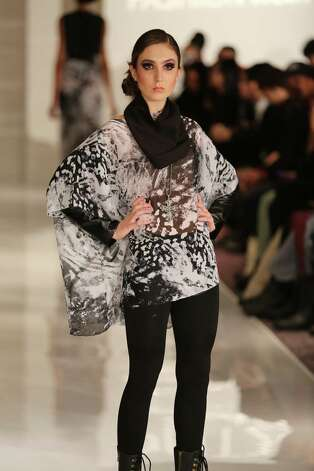 A model wears a black and white print voluminous top over leggings from San Antonio designer Samantha Plasencia, 26, an award-winning fashion grad of the University of the Incarnate Word. Plasencia was invited to participate in the Plitzs New York City Fashion Week even, an off shoot of Mercedes-Benz Fashion Week. Photo: Courtesy Photy By Brian Cunningh