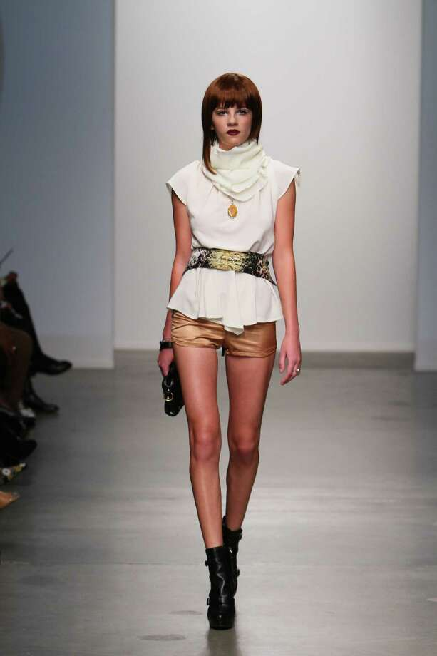 A model wears a pleated and ruched top over short shorts, a look by San Antonio designer Mandi Gallegos who presented a fall 2013 collection at Nolcha Fashion Week in New York, an off-shoot of Manhattan's Mercedes-Benz Fashion Week. Photo: Nolcha Fashion Week