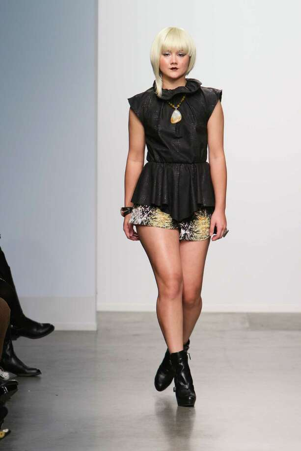 A black gathered top over python print shorts by San Antonio designer Mandi Gallegos who presented a fall 2013 collection at Nolcha Fashion Week in New York, an off-shoot of Manhattan's Mercedes-Benz Fashion Week. Photo: Nolcha Fashion Week