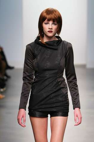 A deconsrtucted cowl neck top over shorts by San Antonio designer Mandi Gallegos who presented a fall 2013 collection at Nolcha Fashion Week in New York, an off-shoot of Manhattan's Mercedes-Benz Fashion Week. Photo: Nolcha Fashion Week