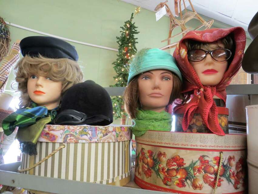 726 Fredericksburg Road: A few of the vintage hats and scarves at Beacon Hill Marketplace.