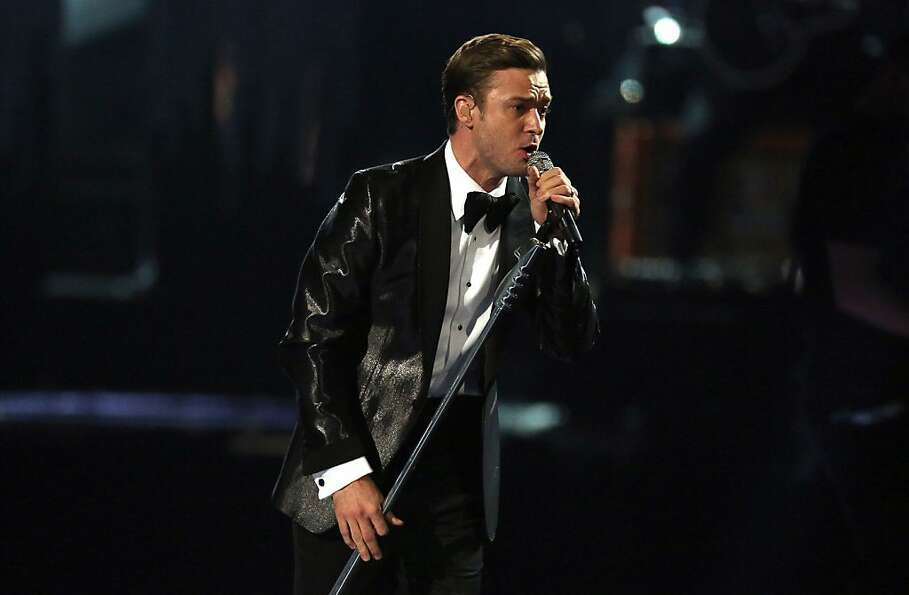 Justin Timberlake performs on stage during the BRIT Awards 2013 at the o2 Arena in London on Wednesd
